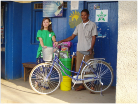 Nurse Charles receives his new bicycle at Mwanhala clinic
