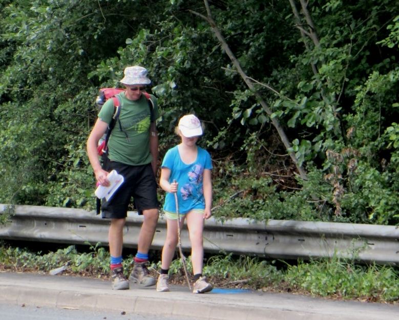 Devon - Jon and Ruby about to cross A38 at Drum Bridges.JPG