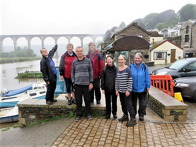 We made it.  Alison, Jo, Rod, Gill, Adam. Sandy & Maureen by Calstock Viaduct
