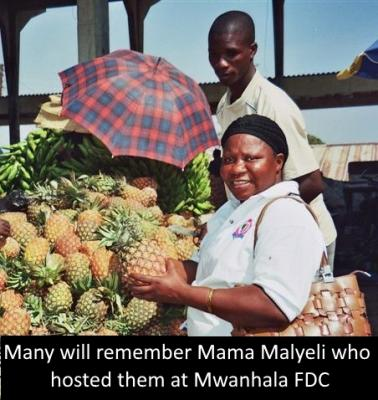 Mama Malyeli checks the pineapples