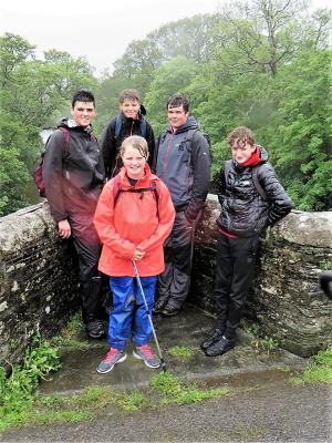 Phoenix, Elliott, Jason, Finn  and Ruby at Horsebridge on the Devon-Cornwall border