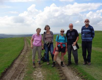 Downs - Isabel, Sarah, Penny, Paul and Richard on Windover Hill between Alfriston and Jevington