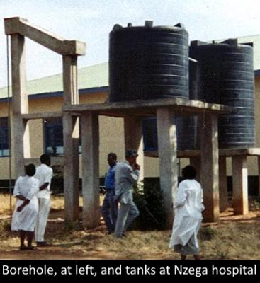 Nzega hospital borehole and water tanks