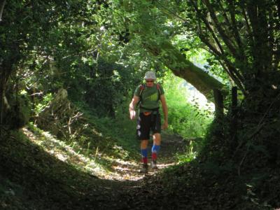 Devon - Jon in tree tunnel from Dartmoor