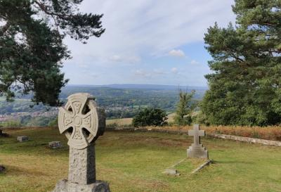 Cemetery at St Martha's with view across Surrey hills