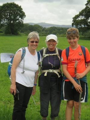 Devon - Alison, Judy & Elliott with Haytor rocks now far behind
